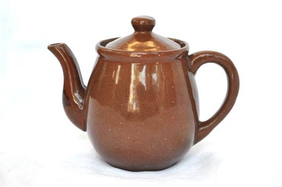 Vintage Stoneware Crockery Pitcher Tea Pot with Lid