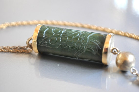 Reserved for Anna REDUCED Vintage Jade Pendant Necklace WAS 48.00