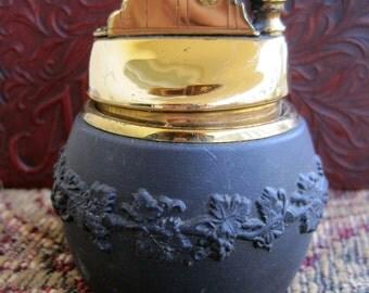 Genuine Wedgwood Table Lighter Vintage 60s Black Basalt Grapevine Design Lighter Signed Rare 1960s Collectible One Owner