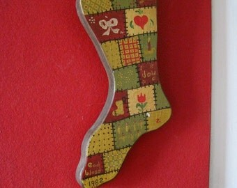 SALE Wood Christmas Stocking Folk Art Wall Hanging Patchwork Design Hand Made Artisan Vintage 80s Wall Hanging Hand Painted OOAK 1982