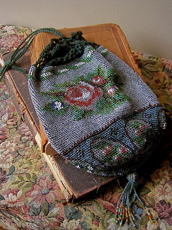 Beaded Evening Bag Victorian Pouch English Rose Vintage 20s Wedding Flapper Great Gatsby Bridal Purse Silver Crystal Beads