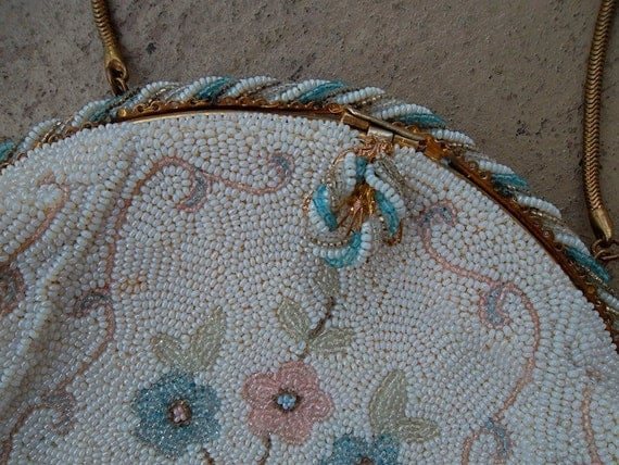 Beaded Bag French Hand Beaded Pastel Floral Designer Evening Bag Vintage 30s 40s CAPION 9 Rue Auber Pastels Bride Wedding