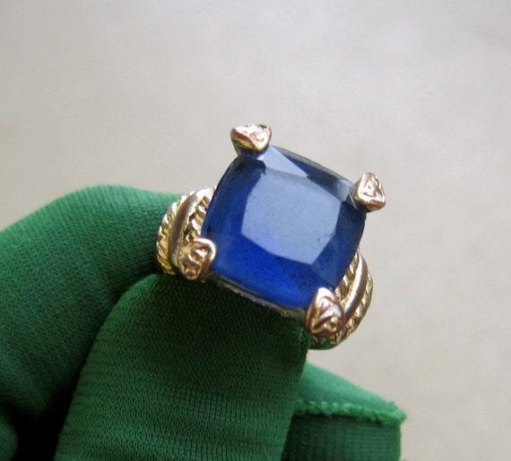 Royal Blue Ring:  Square Cut Renaissance Kings Ring Vintage 70s Size 7 Men Pinky Finger or Women