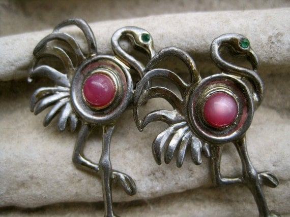 Pink Flamingos:  Pair of Brooches Vintage Figural Brooch with Pink Stone