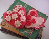 Heart Shaped Red and Pink Felt Flower Pincushion and Needle case set