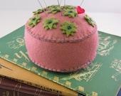 Green and Pink Felt Flower Pincushion