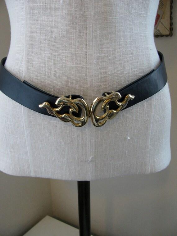 easy rider // belts // 80s Biker Chic Black Leather Flame Buckle Belt
