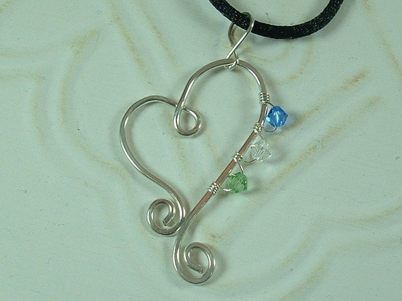 Personalized Birthstone Heart Pendant- hammered silver filled wire and three Swarovski crystals-Mother's Love pendant