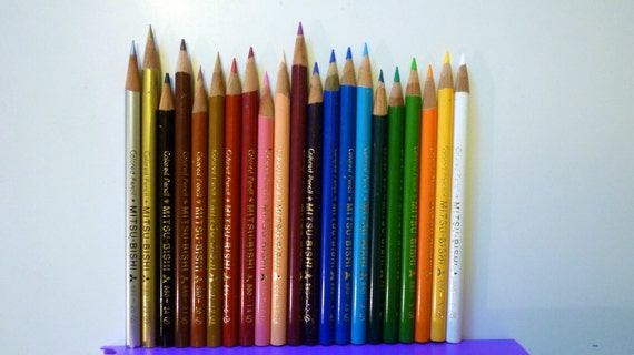 20 Japanese Mitsubishi Colored Pencils 880 Series- Used in Box