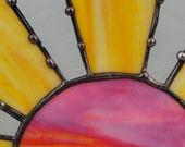 Sunrise Morning Sun bright summer SUNBURST, original stained glass art panel
