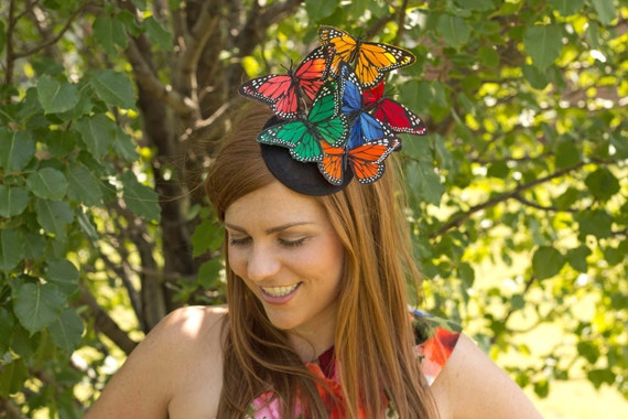 Multi Color Butterfly Fascinator