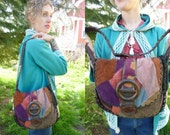 RESERVED for ANNE/// 70s Leather Rainbow Gathering Patchwork Purse