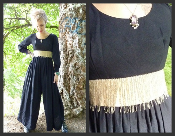 RESERVED// 40s Glam Beaded Fringe Jumpsuit/Palazzo Pants, s-m