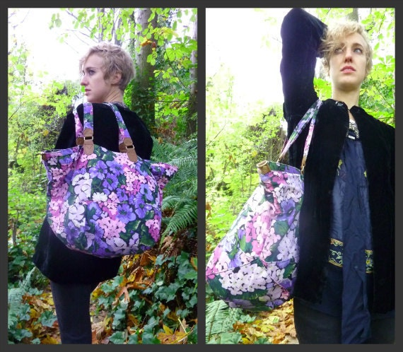 SALE// XL 90's Wild Mountain Flowers Floral and Leather Tote Shopper