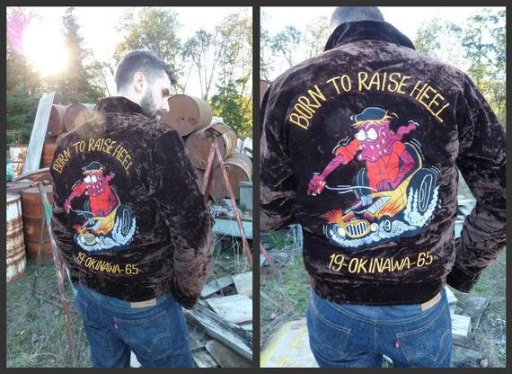 RESERVED// Born To Raise Heel RAT FINK 60s Okinawa Velvet Souvenir Teddy Jacket