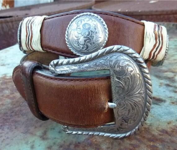 VTG Tony Lama Concho Rawhide Leather Belt