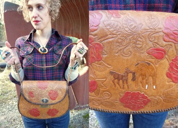 Home On The Range Tooled Roses and Horses Shoulder Purse