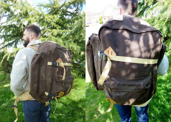 Vtg Large OUTBOUND Cobmaster Internal Frame Canvas and Leather Rucksack Backapck