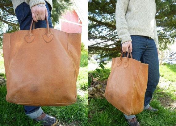 RARE Vintage 40's L.L. Bean Leather Field Tote Shopper Bag