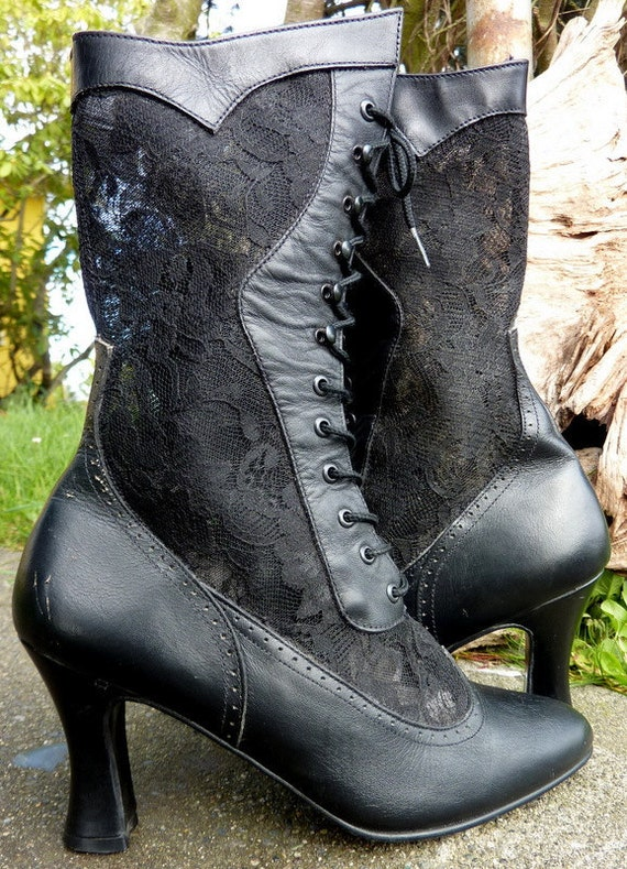 LEATHER and LACE  Victorian Goth Lace Up Boots, 6.5