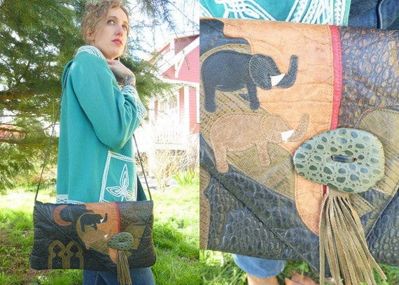 SALE Elephants and Crescent Moon Moon Pebbled Leather and Tassel Shoulder Bag