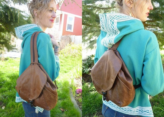 Buttery Leather Teardrop Backpack Sling