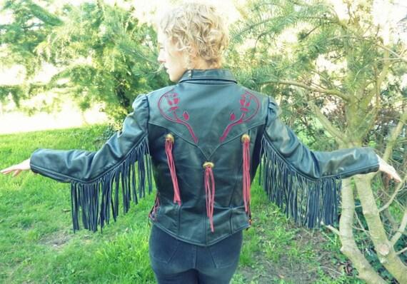 Desert Rose Cutout Concho Leather Fringe Roadmaster Jacket