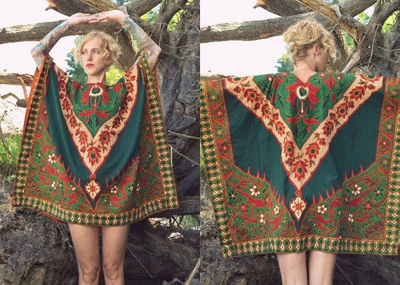 Vintage 70's African Ruby & Emerald Dashiki Blouse Cape