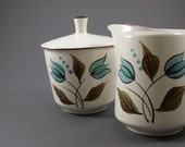 Rare Mod Casual Ceram Hollandia // Cream and Sugar Set with Lid // Blue, White, Green Tulips  // Japanese Stoneware