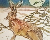 March Hare, Moonlit Hare , Etching with Aquatint printed A La Poupee.