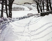 Snow had fallen... country lane in snow Etching and Aquatint