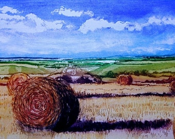 Corn Bales in late Summer, full colour Aquatint ......... 9x5.5 inches, paper 17x13 inches.