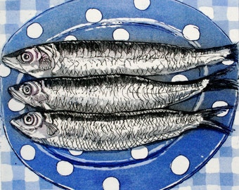 Blue and white spotty dish with sardines, on  check cloth. Etching with Aquatint. Sally Winter