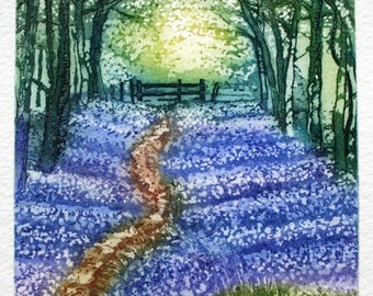 Bluebell wood, Spring in England etching with aquatint , a path through the carpet of bluebells.
