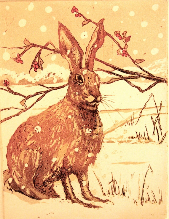 Winter Hare , Etching with Aquatint  edition 100.