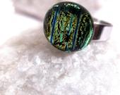 Silver Aquarium Ring - Blue Green Aqua Dichroic