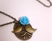 Flower Blossom Bird Necklace - Blue