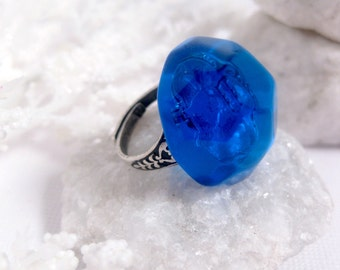 Gothic Royal Large Ring - Blue High Dome Adjustable