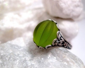 Green Ring - Melon Ring - Cabochon Ring - Peridot - Glow - Bright Green - Silver And Green - Apple Green - Christmas Gift