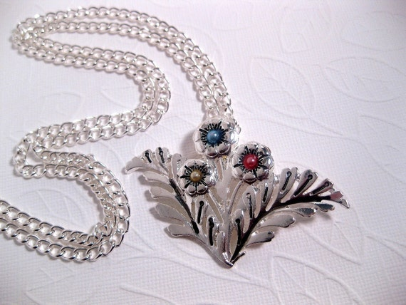 Silver Flower Pendant Necklace Long