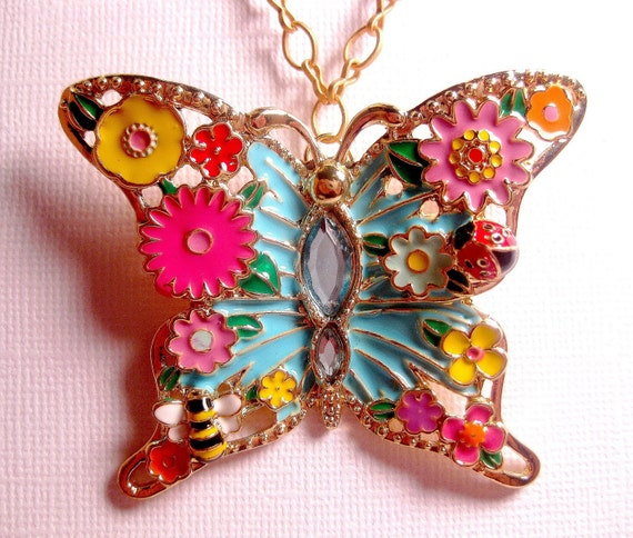 Bahama Beach Butterfly Insect Necklace - Turquoise - Colorful - Floral