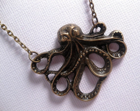 Sea Life Octopus Necklace - Antique Brass - Mystical Creature From The Sea
