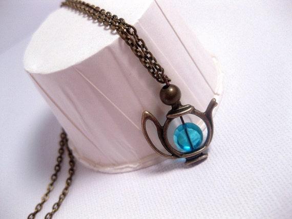 English Tea Teapot Necklace - Turquoise Elixir