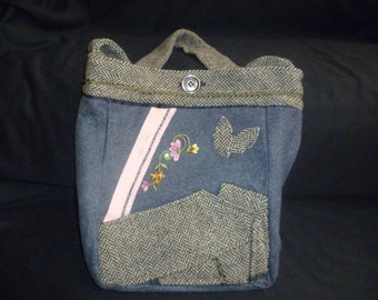 grey pink wool purse with embroidered flower jewel accents
