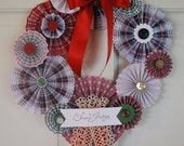 Plaid Paper Rosettes and Antique Lace Christmas Wreath