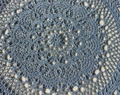 """Beautiful Handmade Highly Textured Blue colored 22"""" Round Doily"""