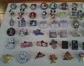 Assortment of enamel and metal Disney Trader pins for crafting. Lot of 50