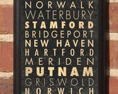 Cities of Connecticut Subway Scroll Vintage Style Wall Plaque/Sign