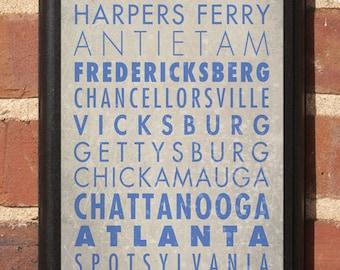Civil War Battlegrounds Blue Gray Wall Art Sign Plaque Gift Present Home Decor Vintage Style Battlefields Gettysburg CSA Gettysburg Classic