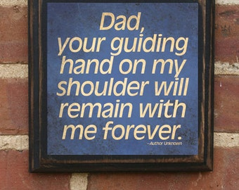 """Father's Day Gift Present """"Guiding Hand"""" Wall Art Sign Plaque Home Decor Gift for Dad Daddy Gift from Kids Pop Papa Husband Inspirational"""